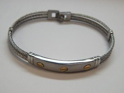 AGM Stainless Steel Bangle Bracelet 18KT Yellow Gold Plated Screw Design 8.5