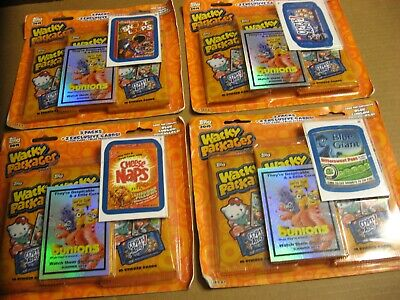 FOUR 2015 Wacky Packages Series 1 Ea With 3 PACKS +2 EXCLUSIVE CARDS FOIL & BLUE