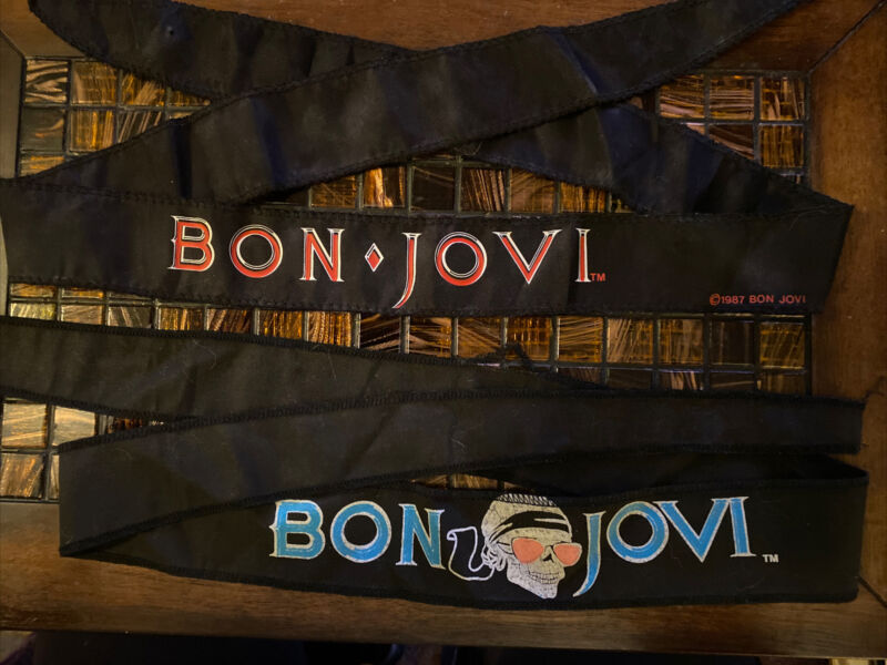 NEW Vintage 1987 BON JOVI Vintage Headband Bandana Set Of 2