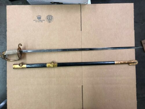US NAVY MODEL 1852 OFFICER SWORD NICE ETCHED BLADE WITH SCABBARD