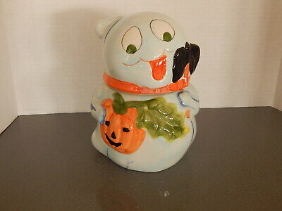"Halloween Ghost Ceramic Cookie Jar 8 1/4"" Tall with Blue Sheet and Pumpkin"