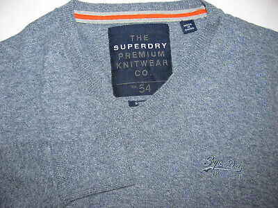 Superdry CASHMERE Blend V Neck Sweater Gray EMBROIDERED MENS SMALL pullover