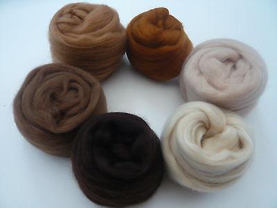 Heidifeathers® Merino Wool Tops- 'Beautiful Browns' - Felting Wool