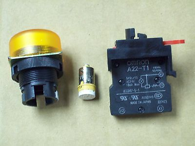 New Omron Yellow Indicator Light M22-fy-t1 With Contact Block A22-t1