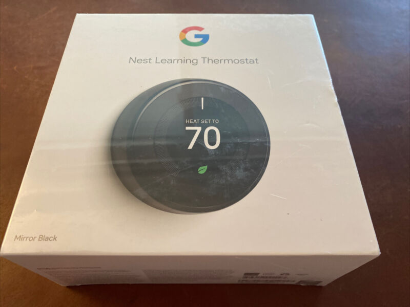New Google Nest Learning Smart Thermostat 3rd Generation - Mirror Black - SEALED