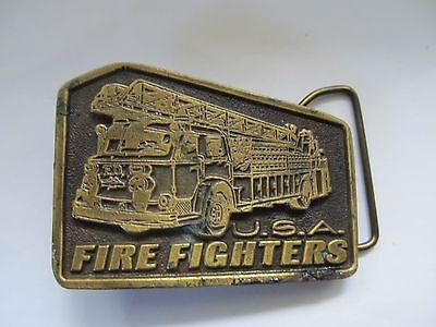 Vintage Tiffany Studio New York Firefighters USA Brass Belt Buckle