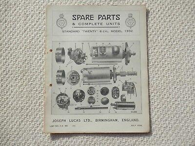STANDARD TWENTY 20 6-cyl 1932 LUCAS Parts List published July 1932