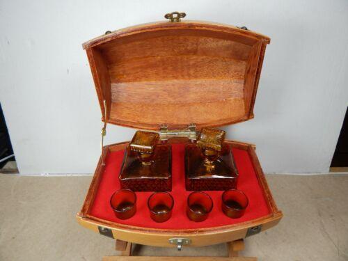 vintage Wood CASK Barrel LIQUOR BAR SET TANTALUS