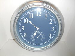 Lg. Metal Industrial Wall Clock Round Galvanized Mill Finish w/ Thermometer