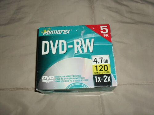 Memorex DVD-RW 5pk 1x 2x 4.7GB 120 Mins For Pc Or Home Video Recorder-New!!