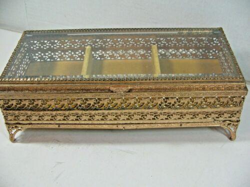 VINTAGE FILIGREE GOLD ORMOLU BEVELED GLASS VELVET JEWELRY TRINKET BOX
