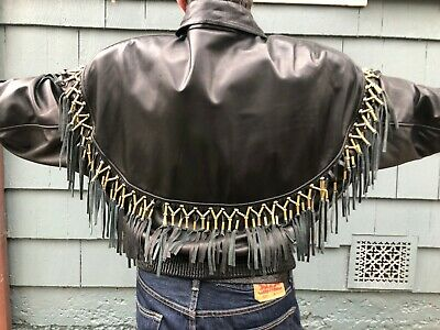 Gianni Versace 1980's Lambskin Leather Men's Jacket with Beaded Fringe Sz Large