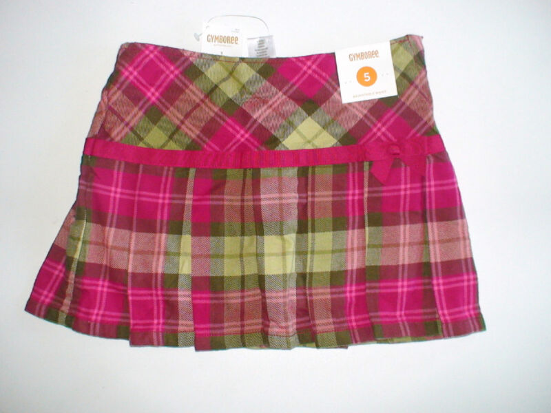 NWT GYMBOREE BUTTERFLY GIRL PLAID PLEATED GREEN PURPLE SKIRT