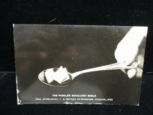 THE WORLDS SMALLEST BIBLE Century of Progress Expo Chicago 1933 Vintage Postcard
