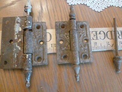 Antique decorative cast iron door hinges +steeple tip + hinges move smoothly Decorative Cast Iron Steeple
