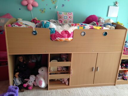 Cabin bed with cupboard, shelves and desk Bullsbrook Swan Area Preview