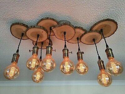 Ceiling light, Rustic Wooden Edison Blub design. Retro and vintage lighting.