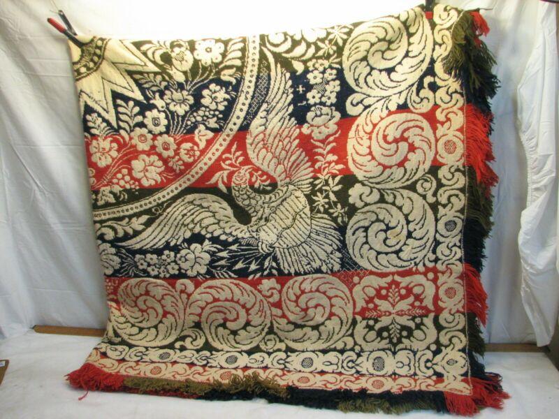 Vintage PA Coverlet Loom Woven Bed Spread Eagle w/ Shield Blanket Linen Folk Art