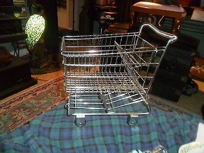 Vintage MINIATURE CHROME METAL GROCERY SHOPPING CART BASKET Collector Taiwan