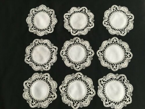 "9  Antique White Handmade Cluny Bobbin Lace  Doilies - 7.5"" - 8"""