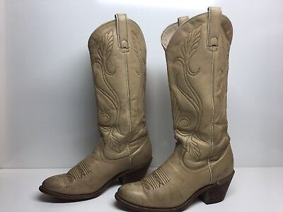VTG WOMENS ACME COWBOY IVORY BOOTS SIZE 7 M