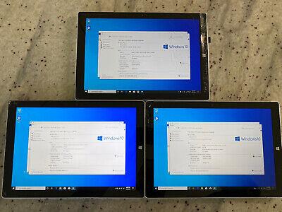 Lot Of 3 - Microsoft Surface Pro 3 Core i3 1.5GHz 4GB RAM 64GB Win 10 Pro