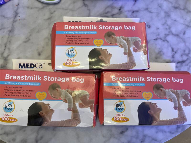 MEDca Breastmilk Storage Bags,BPA Free 6oz / 180ml 300 Total