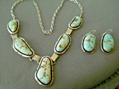 P. SANCHEZ Native American Dry Creek Turquoise Sterling Silver Lariat Necklace