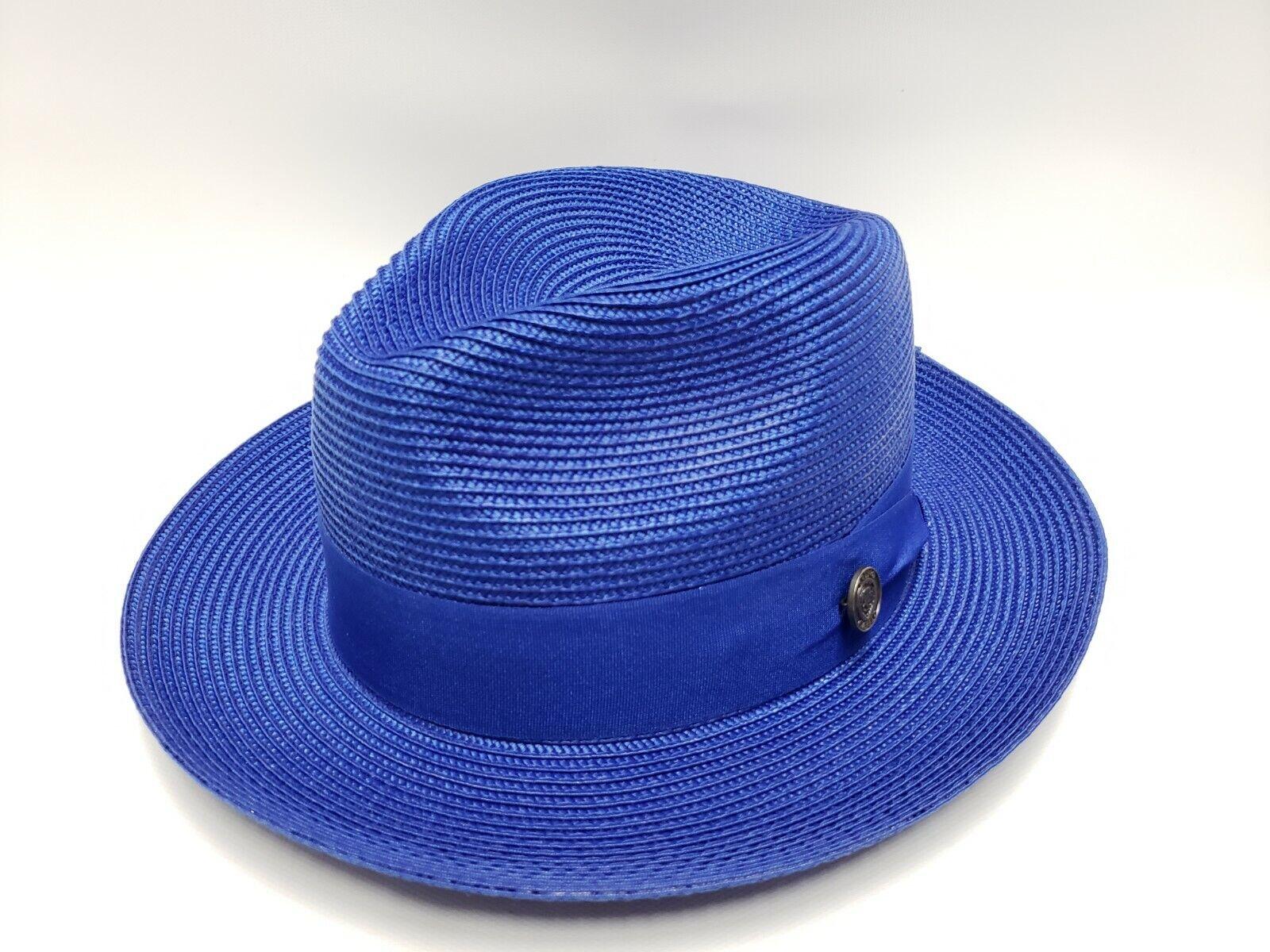 Men/'s Fedora Dress Casual Hat Summer Straw Royal Blue 100/% Poly Braid FN-822