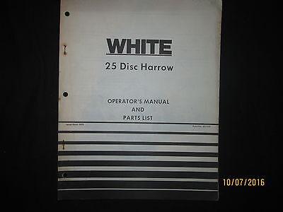 White 25 Disc Harrow Operators Manual And Parts List Book Factory Original 1979