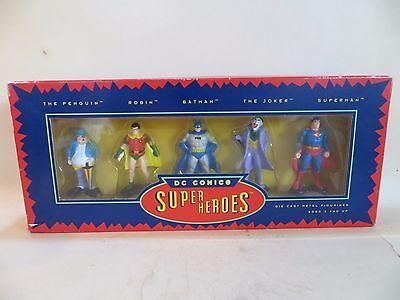 DC COMICS 'SUPER HEROES' METAL FIGURINES BOXED SET. MIB. 1:32/54mm BATMAN etc