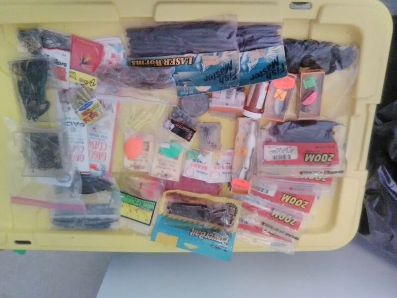 Various Fishing Lures, Worms, Weights, Hooks, And More Tackle Lot