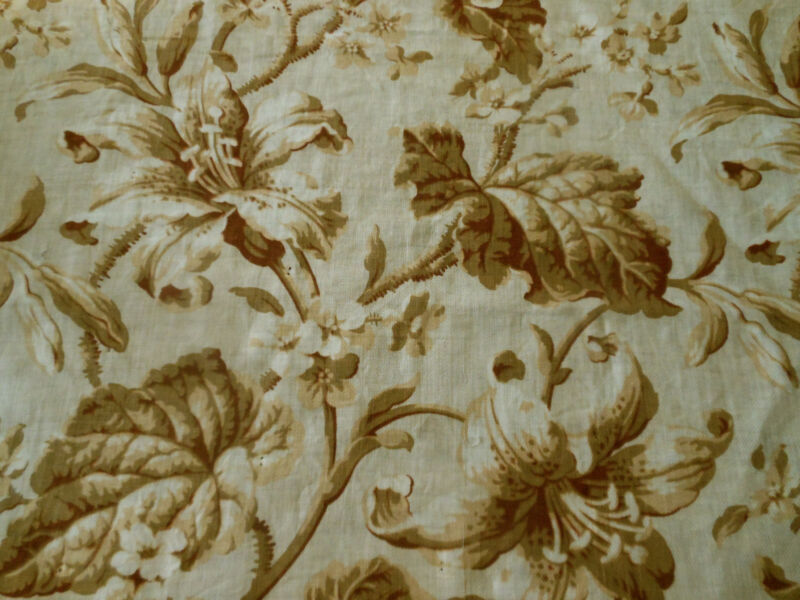 Antique French Botanical Lily Floral Challis Cotton Fabric~ Neutral Brown Ochre