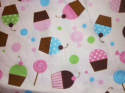 Fairy Food Candy - CLEARANCE FQ FAIRY CUPCAKES CANDY POLKA DOTS FABRIC FOOD PINK TEAPARTY
