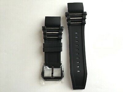 New Invicta Bolt Zeus Black Rubber Watch Band Strap w Grey & Silver Rope Inserts