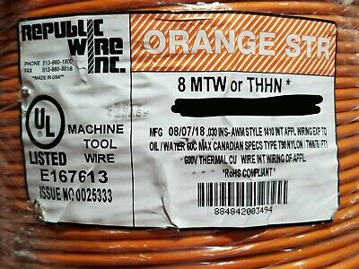 Republic 8awg Thhnthwn-2mtw Stranded Copper Building Wire Orange 100ft