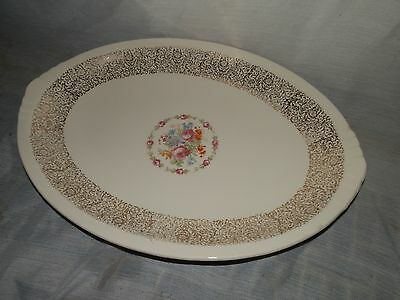 Vintage, Paden City Pottery, U.S.A., C39, Flowered, 22K, Oval, Serving Platter