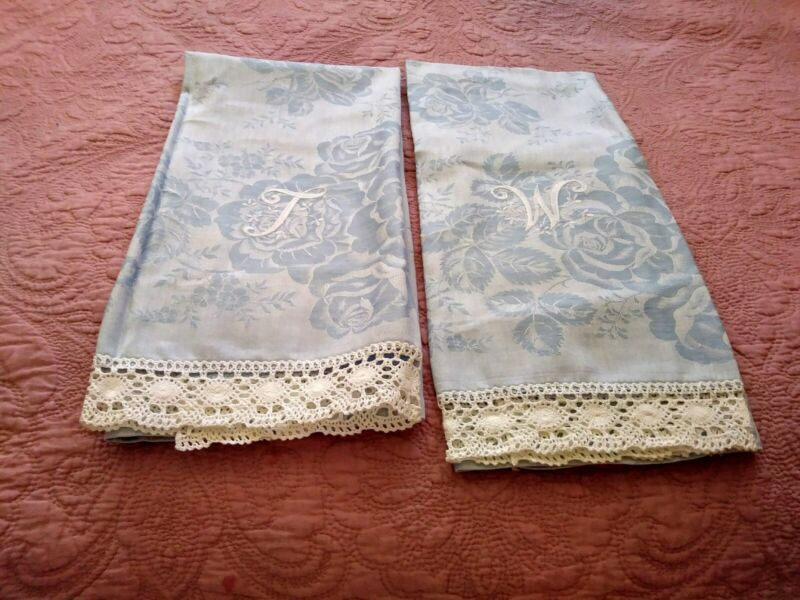 Set 2 Pretty Blue Rose Design Cotton Embroiderd & Lace Show Towels As Is