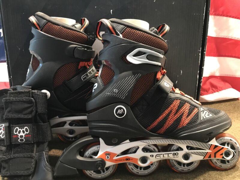 K2 F.I.T. 80 ALU US Size 9.5 Men's  Inline Skates Roller Blades - Used Once