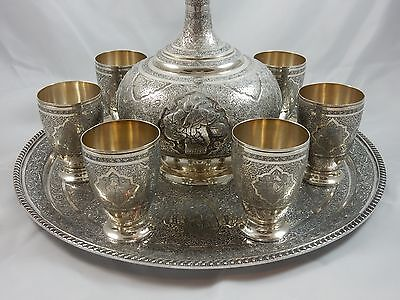 MAGNIFICENT, PERSIAN solid silver JUG AND 6 BEAKERS ON TRAY, c1950, 3295gm