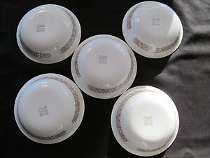 5 Vintage  CORELLE WOODLAND BROWN  Berry Dessert Bowls UNUSED 5 3/8