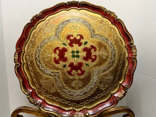 """Florentine TRAY Vintage Round TOLE Gilt & Painted WOOD Italy 15"""" Red & Gold"""