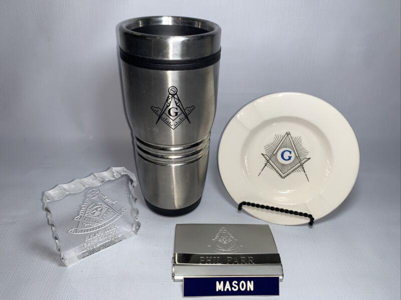Masonic Ash Tray Card Holder Insulated Mug Pin Freemasonry Lot 5 Items Mason