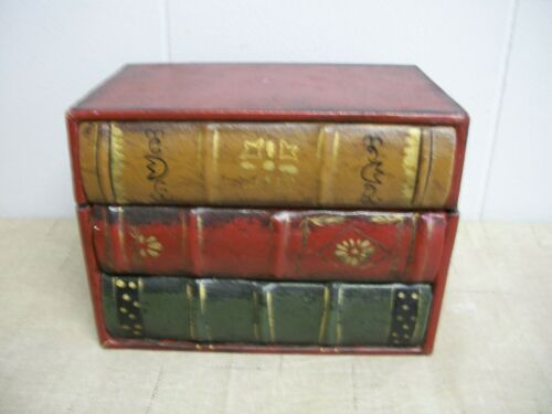 3 Piece Stacked Secret Storage Box Case FAUX LEATHER Old Book Set