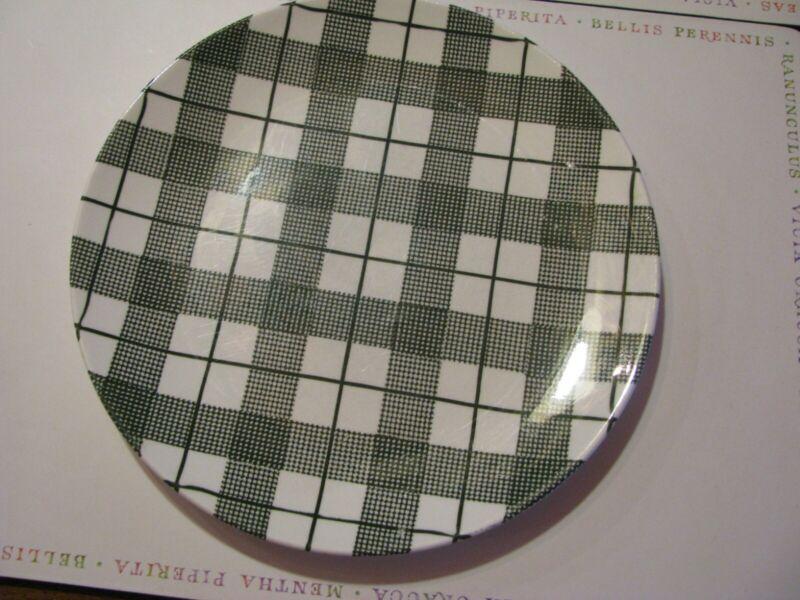DINNERWARE Hand-Etched Original Heather Plaid Underglaze Dinner Plate Green.
