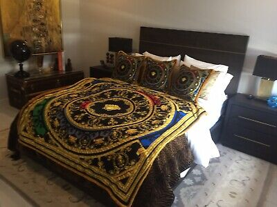 Oversized Costom Made Versace Velvet Throw 56/56 Inch  Multi Color Show Piece