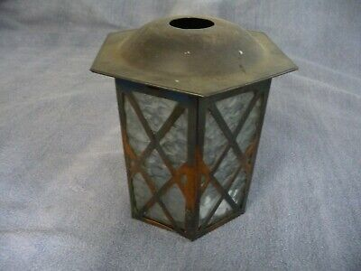 Vintage 50s/60s Coloured metal Porch Lantern Light Shade Obscure Glass Std Fit