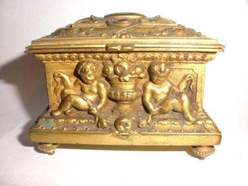 Antique Victorian Art Nouveau brass cherubs angels trunk box