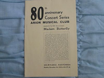 1956 80th Anniversary Concert Series Program Madam Butterfly in Milwaukee, WI