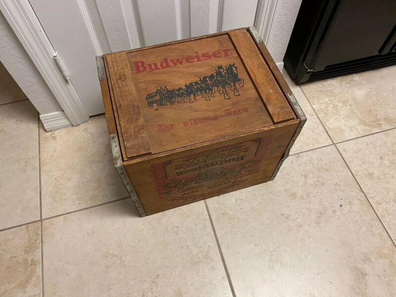 Budweiser Anheuser Busch Beer Wood Wooden Storage Crate Box Clydesdale